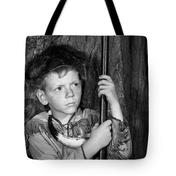 1950s Boy Wearing Raccoon Skin Hat Tote Bag