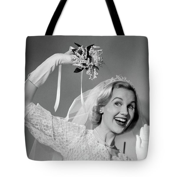 1950s Bride Throwing Bouquet And Waving Tote Bag