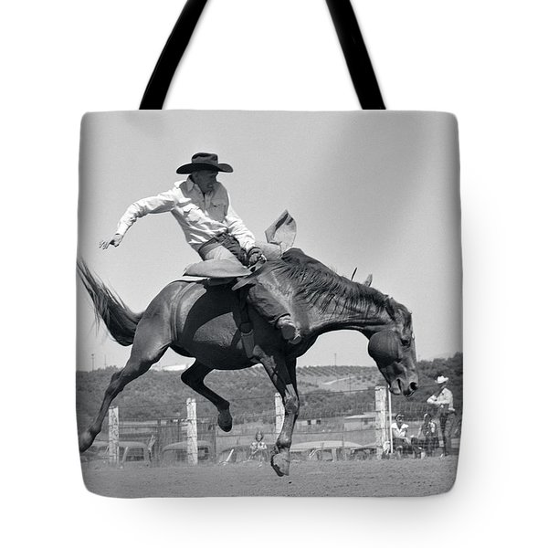 1950s Cowboy Riding A Horse Bareback Tote Bag