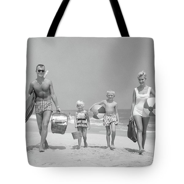 1950s Family Of Four Walking Towards Tote Bag