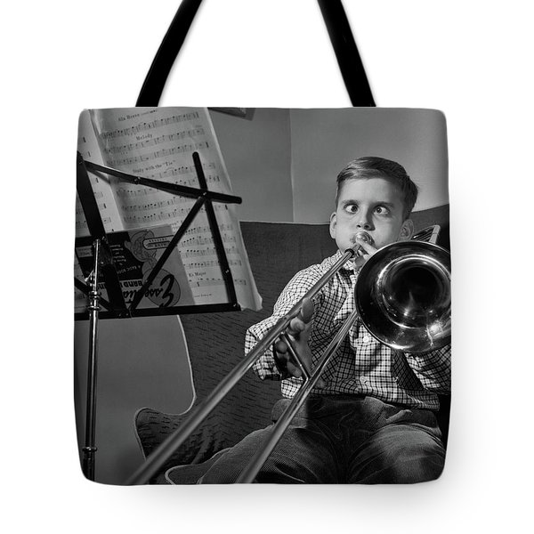 1950s Funny Cross-eyed Boy Playing Tote Bag