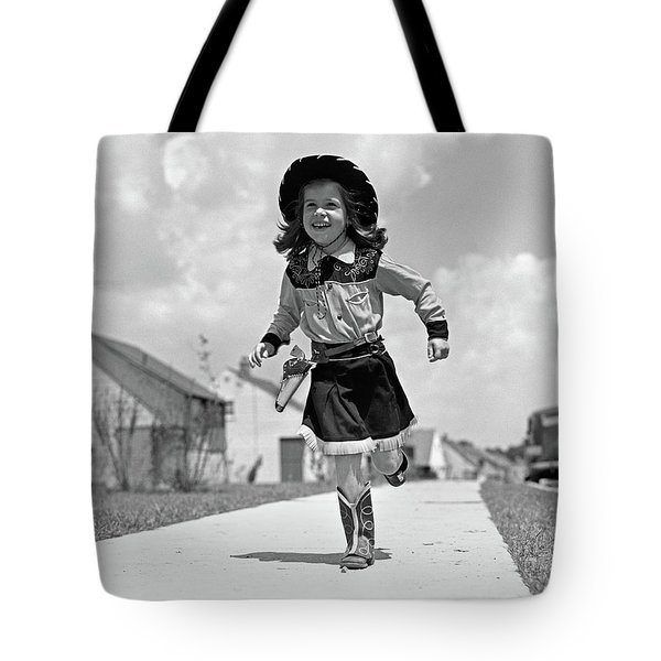 1950s Girl In Cowgirl Outfit Running Tote Bag