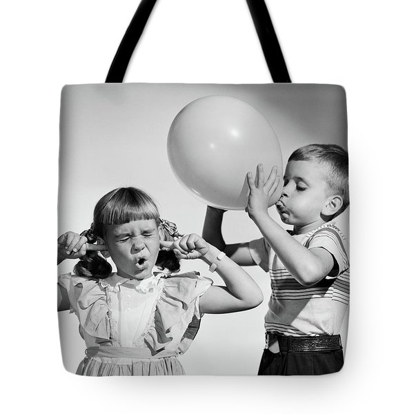 1950s Little Boy Blowing Up Big Balloon Tote Bag