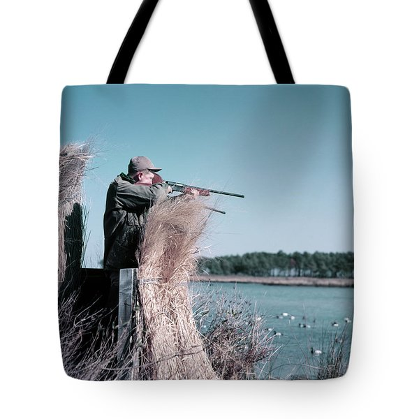 1950s Man Behind Grass Duck Blind Tote Bag