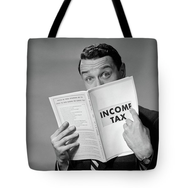 1950s Man In Suit Nose In Income Tax Tote Bag
