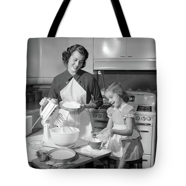 1950s Mother & Daughter Baking A Cake Tote Bag