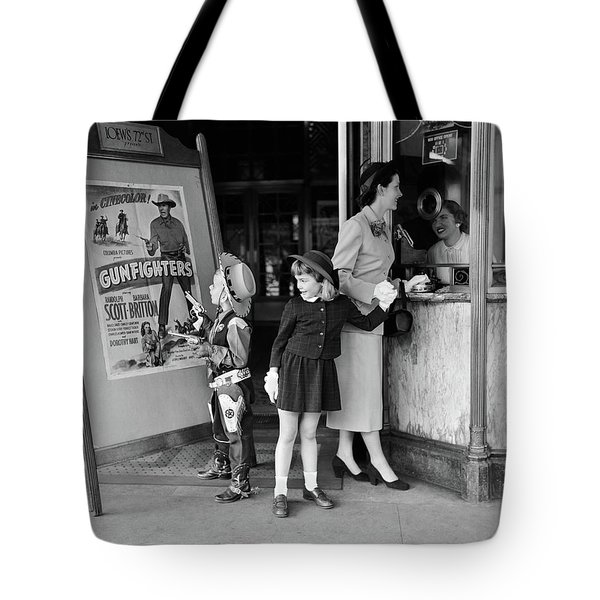 1950s Mother 2 Children Buying Tickets Tote Bag