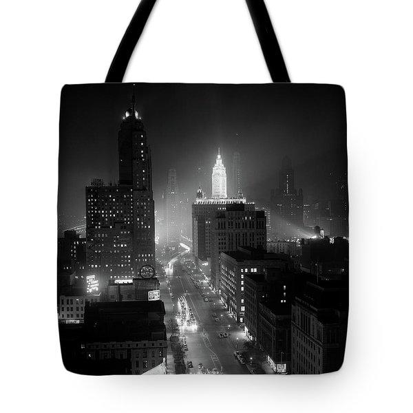1950s Night Aerial Chicago Illinois Tote Bag
