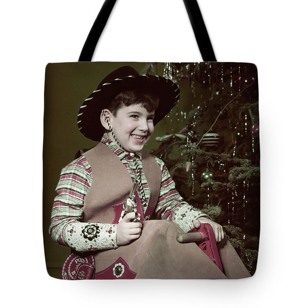 1950s Smiiling Boy Cowboy Hat Costume Tote Bag