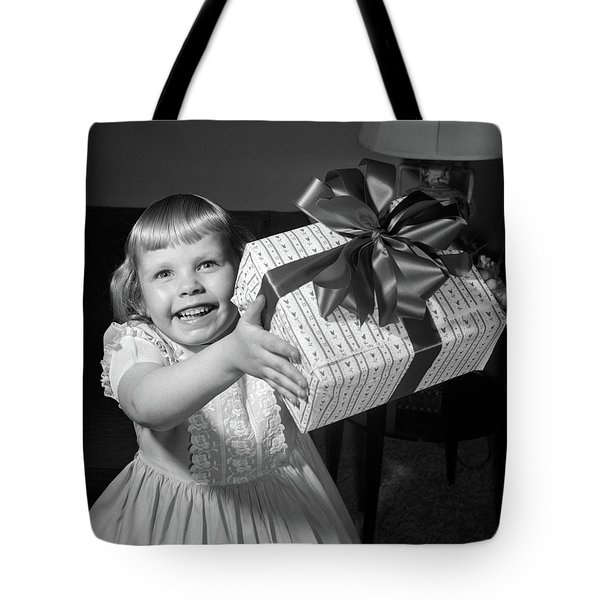 1950s Smiling Girl Holding Up Wrapped Tote Bag