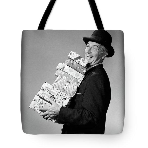 1950s Smiling Man Black Homburg Style Tote Bag