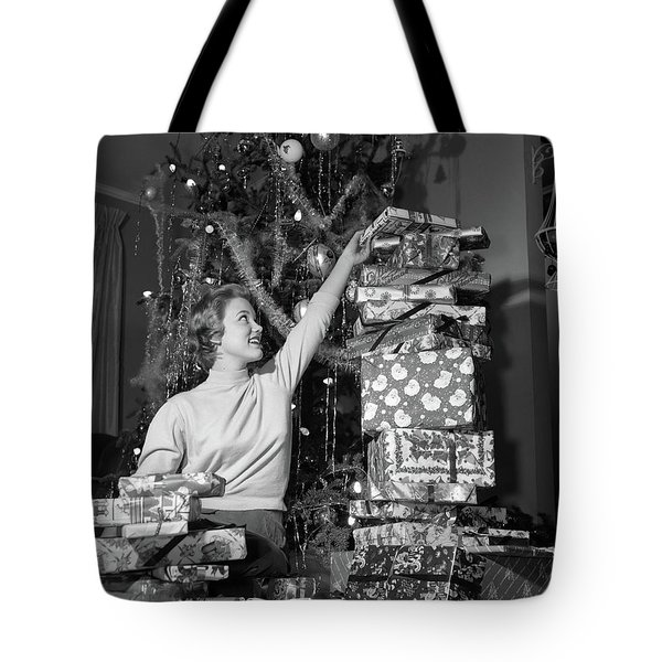 1950s Smiling Young Woman Sitting Tote Bag