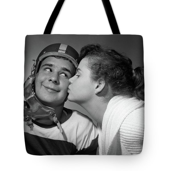 1950s Teen Girl With Pony Tail Kissing Tote Bag