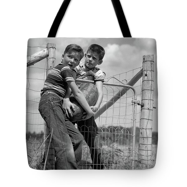 1950s Two Farm Boys In Striped T-shirts Tote Bag