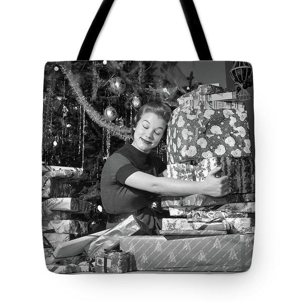 1950s Woman Sitting By Christmas Tree Tote Bag