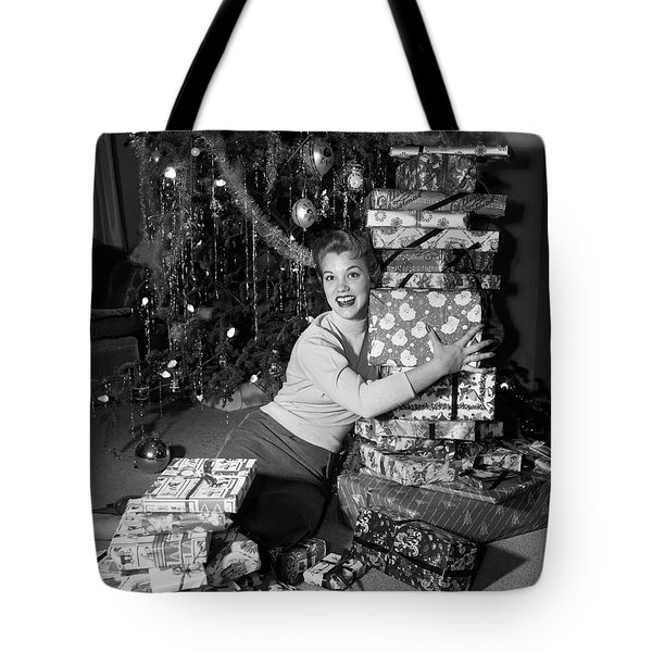 1950s Young Smiling Woman Sitting Tote Bag