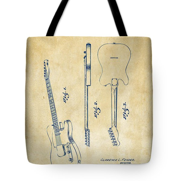 1951 Fender Electric Guitar Patent Artwork - Vintage Tote Bag by Nikki Marie Smith