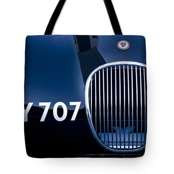 1951 Jaguar Proteus C-type Grille Emblem 3 Tote Bag by Jill Reger