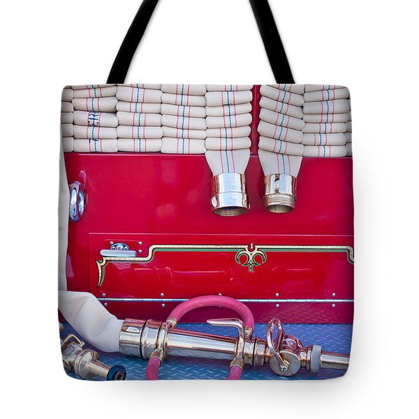 1952 L Model Mack Pumper Fire Truck Hoses Tote Bag by Jill Reger