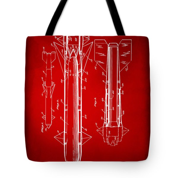 1953 Aerial Missile Patent Red Tote Bag by Nikki Marie Smith