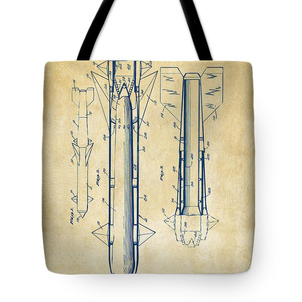 1953 Aerial Missile Patent Vintage Tote Bag by Nikki Marie Smith
