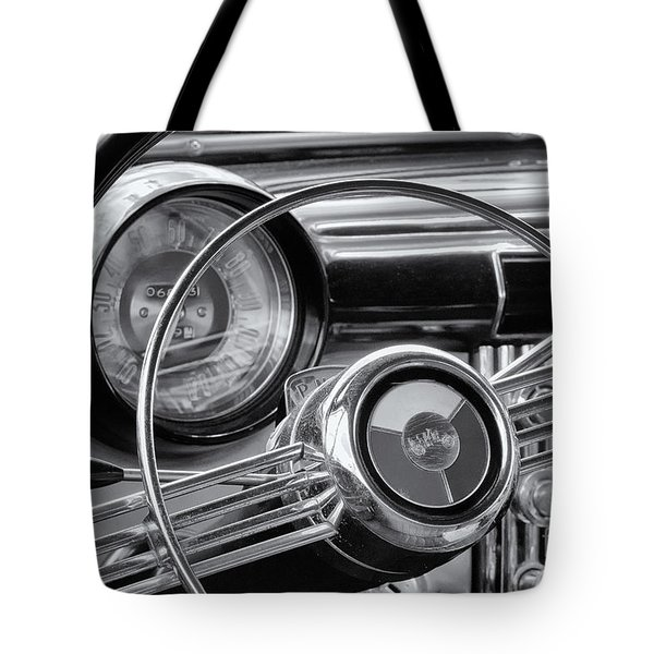 1953 Buick Super Dashboard And Steering Wheel Bw Tote Bag by Jerry Fornarotto