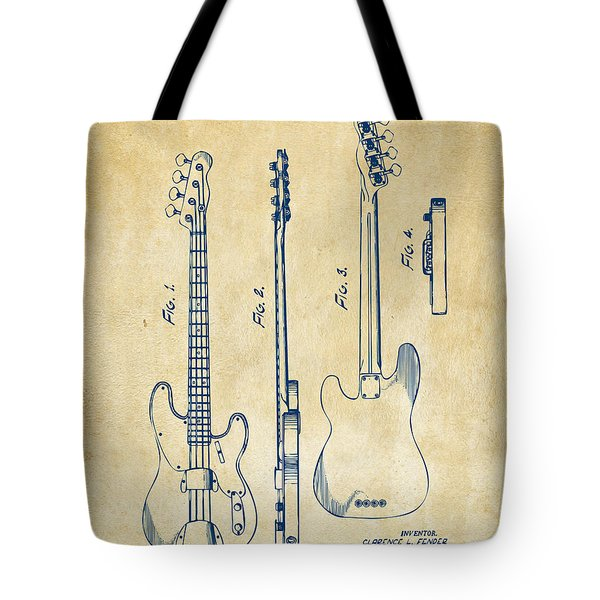 1953 Fender Bass Guitar Patent Artwork - Vintage Tote Bag