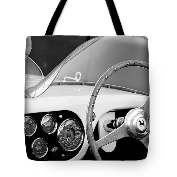 1953 Ferrari 340 Mm Lemans Spyder Steering Wheel Emblem Tote Bag by Jill Reger