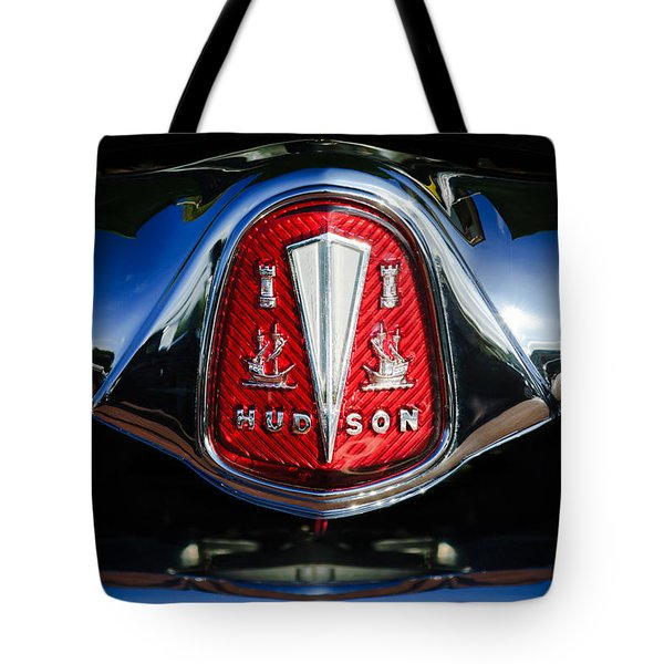 Tote Bag featuring the photograph 1953 Hudson Hornet Sedan Emblem by Jill Reger