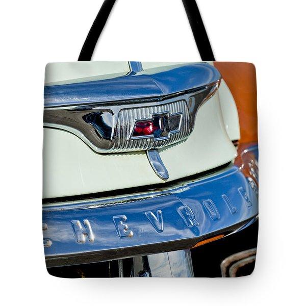 1954 Chevrolet Panel Truck Hood Emblem Tote Bag by Jill Reger