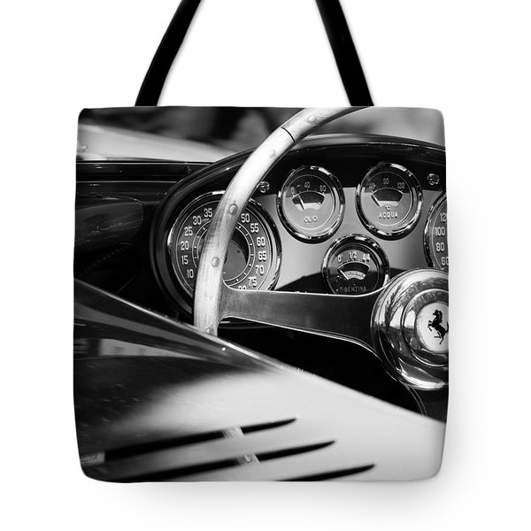Tote Bag featuring the photograph 1954 Ferrari 500 Mondial Spyder Steering Wheel Emblem by Jill Reger