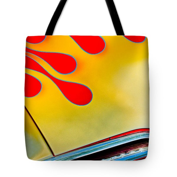 1954 Studebaker Champion Coupe Hot Rod Red With Flames - Grille Emblem Tote Bag by Jill Reger