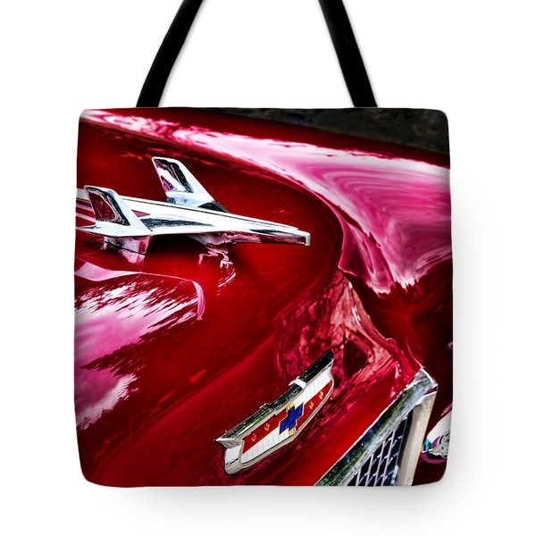 1955 Chevy Bel Air Hood Ornament Tote Bag