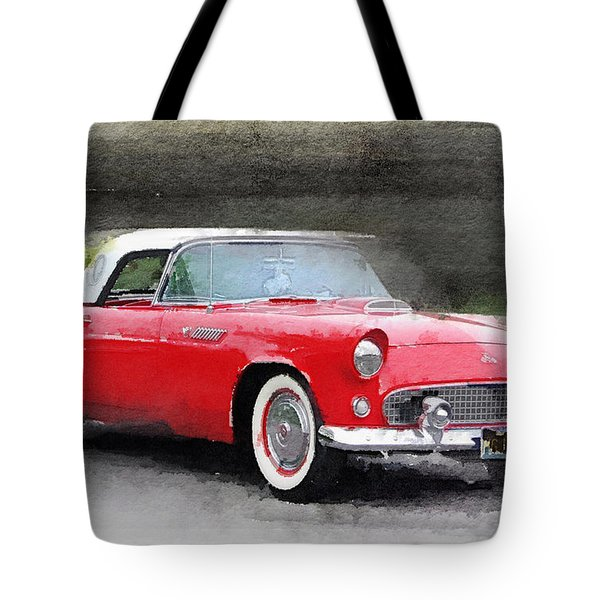 1955 Ford Thunderbird Watercolor Tote Bag