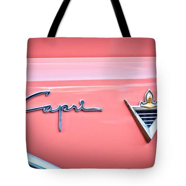 1955 Lincoln Capri Emblem 2 Tote Bag by Jill Reger