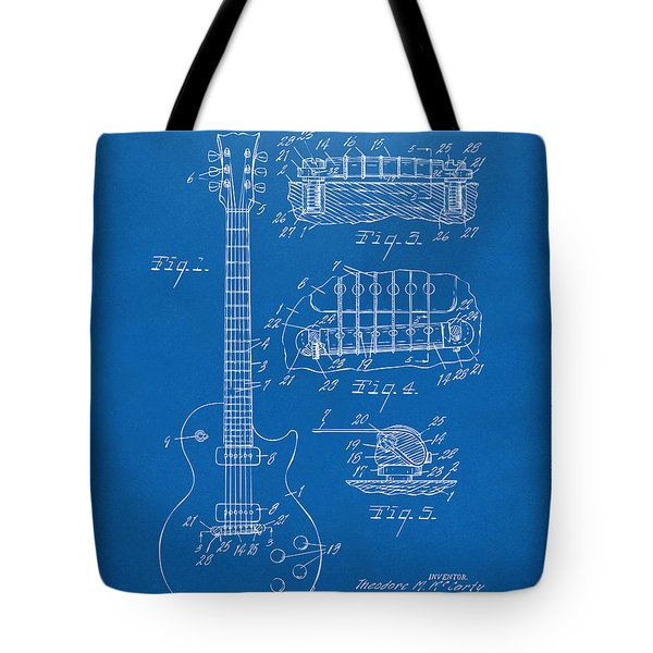 1955 Mccarty Gibson Les Paul Guitar Patent Artwork Blueprint Tote Bag