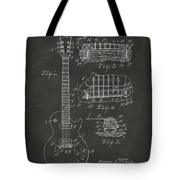 1955 Mccarty Gibson Les Paul Guitar Patent Artwork - Gray Tote Bag