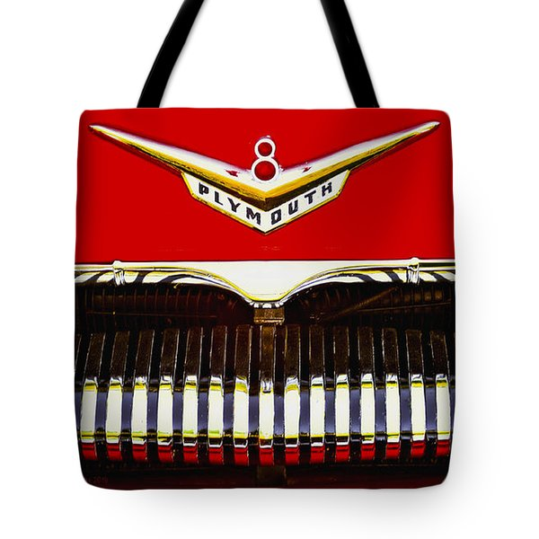 Tote Bag featuring the photograph 1955 Plymouth P27 Convertible by Trey Foerster