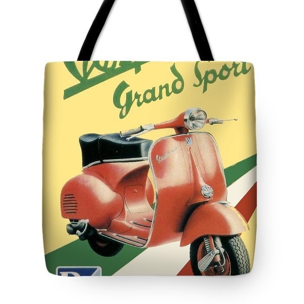 1955 - Vespa Grand Sport Motor Scooter Advertisement - Color Tote Bag
