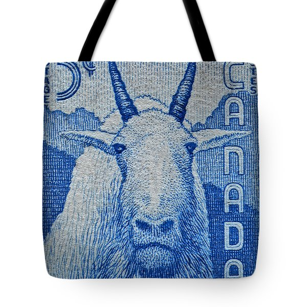 1956 Canada Mountain Goat Stamp Tote Bag by Bill Owen