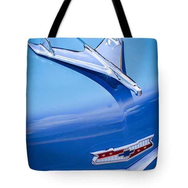 1956 Chevrolet 210 2-door Handyman Wagon Hood Ornament - Emblem Tote Bag by Jill Reger