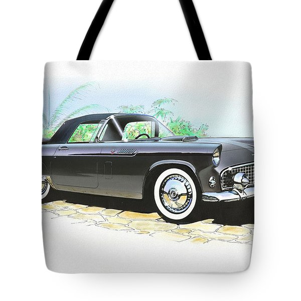 1956 Ford Thunderbird  Black  Classic Vintage Sports Car Art Sketch Rendering         Tote Bag