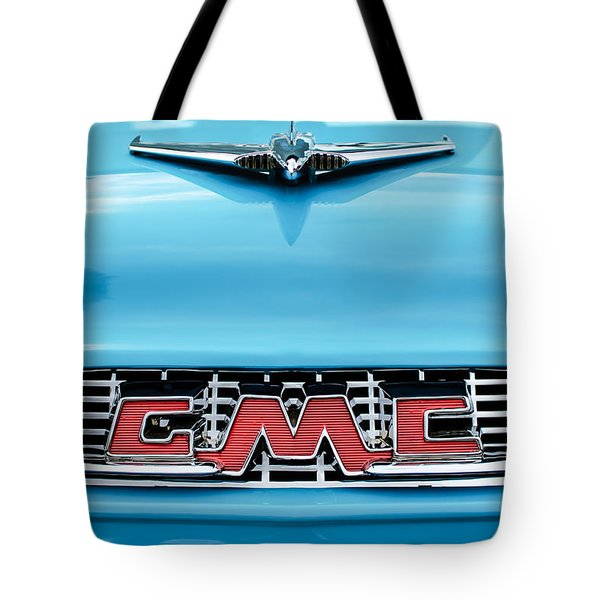1956 Gmc 100 Deluxe Edition Pickup Truck Hood Ornament - Grille Emblem Tote Bag by Jill Reger