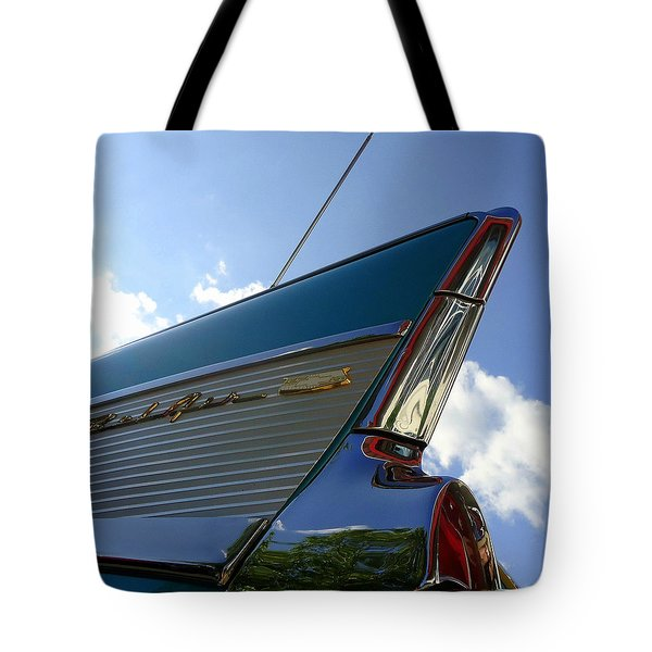 1957 Chevrolet Bel Air Fin Tote Bag by Joseph Skompski
