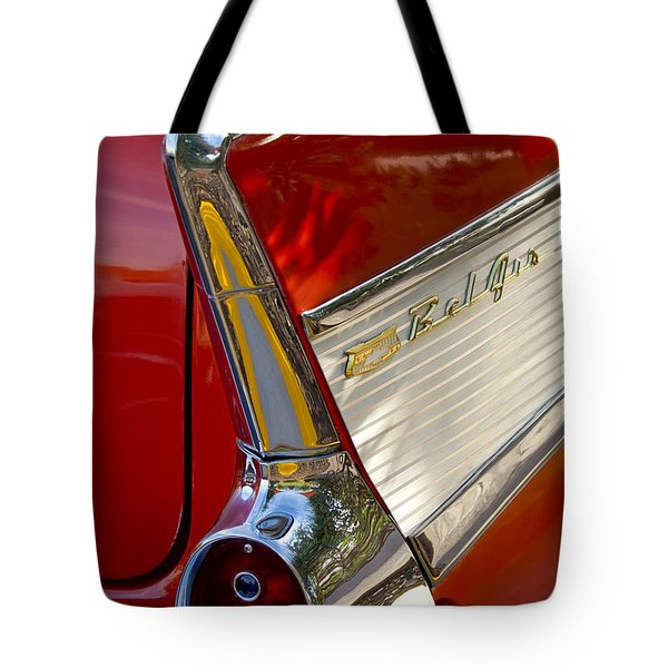 Tote Bag featuring the photograph 1957 Chevrolet Belair Taillight by Jill Reger