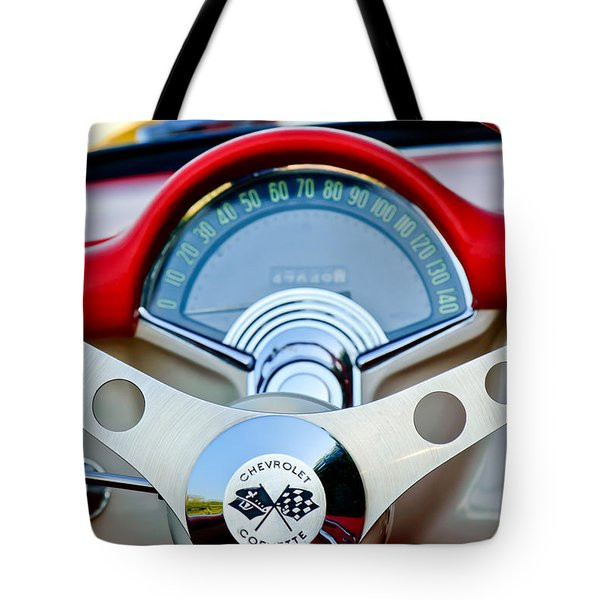 Tote Bag featuring the photograph 1957 Chevrolet Corvette Convertible Steering Wheel by Jill Reger
