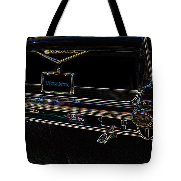 1957 Chevrolet Rear View Art Black_varooom Tag Tote Bag