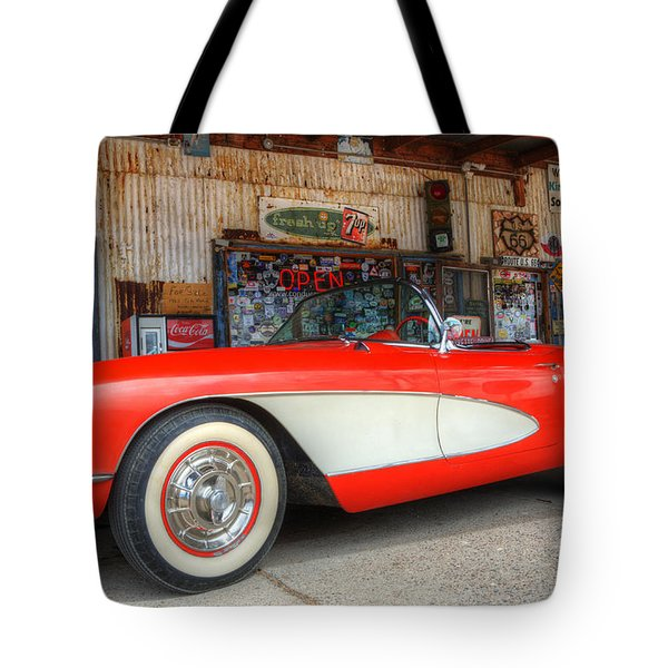 1957 Little Red Corvette Route 66 Tote Bag by Bob Christopher