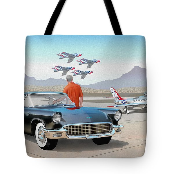 1957 Thunderbird  With F-84 Thunderbirds Vintage Ford Classic Car Art Sketch Rendering          Tote Bag