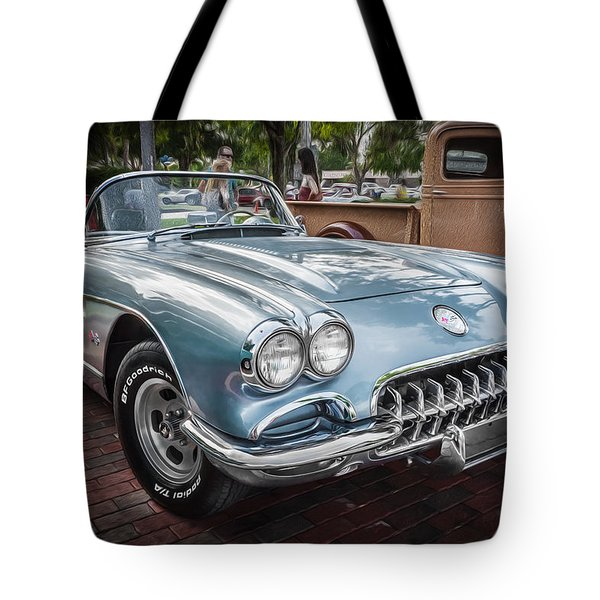 1958 Chevy Corvette Painted Tote Bag